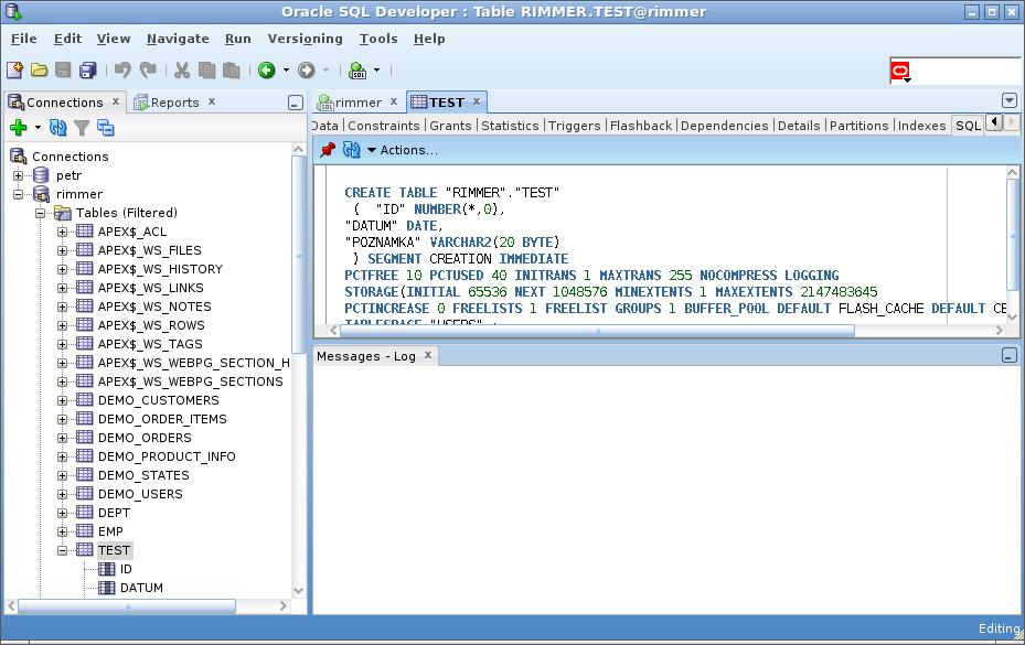 Sally postgresql prvn tabulka - Create table in oracle sql developer ...